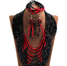 Splendid 8-Row Black & Red Crystal Beads African Wedding Jewelry Set (Necklace, Bracelet & Earrings)