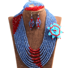 Chic Style Multi Layer Blue & Red Crystal Beads African Wedding Jewelry Set With Statement Crystal Flower (Necklace, Bracelet & Earrings)