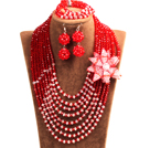 Popular Style Multi Layer Red & White Crystal Beads African Wedding Jewelry Set with Statement Crystal Flower (Necklace, Bracelet & Earrings)