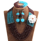 Fashion Multi Layer Sky Blue & Brown Crystal Beads African Wedding Jewelry Set with Statement Crystal Flower (Necklace, Bracelet & Earrings)