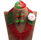 Fashion Multi Layer Red & Green Crystal Beads African Wedding Jewelry Set with Statement Crystal Flower (Necklace, Bracelet & Earrings)