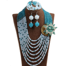 Classic Style Multi Layer Blue & White Crystal Beads African Wedding Jewelry Set With Statement Crystal Flower (Necklace, Bracelet & Earrings)