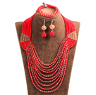 Special Design Terrific Red & Brown Crystal Beads African Wedding Jewelry Set (Necklace, Bracelet & Earrings)