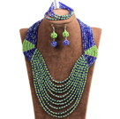 Special Design Terrific Dark Blue & Green Crystal Beads African Wedding Jewelry Set (Necklace, Bracelet & Earrings)