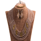 Beautiful Design Multi Layer Brown & Golden Crystal Beads African Wedding Jewelry Set (Necklace, Bracelet & Earrings)