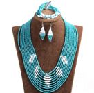 Beautiful Design Multi Layer Blue  & White Crystal Beads African Wedding Jewelry Set (Necklace, Bracelet & Earrings)