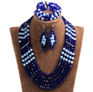 Vintage Style Dark Blue & White Crystal Beads African Costume Jewelry Set (Necklace, Bracelet & Earrings)
