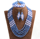 Vintage Style Light Blue & Pink Crystal Beads African Costume Jewelry Set (Necklace, Bracelet & Earrings)