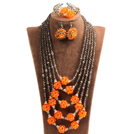 Fabulous Multi Layer Orange Crystal Ball  Dark Brown Crystal Beads Costume Jewelry Set (Necklace, Bracelet & Earrings)