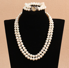 Gorgeous Mother Gift Double Strand 8-9mm Natural White Pearl Wedding Jewelry Set (Necklace & Bracelet)