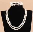 Gorgeous Mother Gift Double Strand 7-8mm Natural White Rice Pearl Wedding Jewelry Set (Necklace & Bracelet)