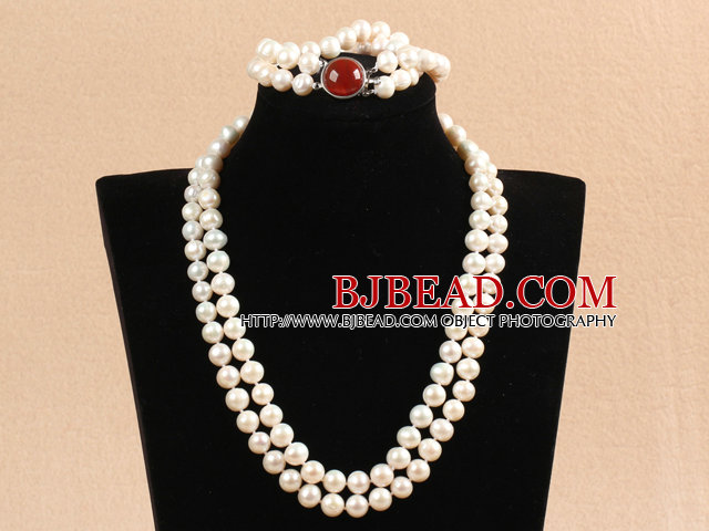 Gorgeous Mother Gift Double Strand 9-10mm Natural White Pearl Wedding Jewelry Set With Red Agate Clasp (Necklace & Bracelet)