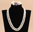 Gorgeous Mother Gift Double Strand 9-10mm Natural White Pearl Wedding Jewelry Set With Amethyst Clasp (Necklace & Bracelet)