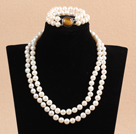 Gorgeous Mother Gift Double Strand 9-10mm Natural White Pearl Wedding Jewelry Set With Tiger Eye Stone Clasp (Necklace & Bracelet) under $ 40