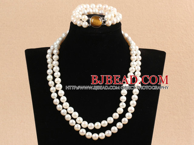 Gorgeous Mother Gift Double Strand 9-10mm Natural White Pearl Wedding Jewelry Set With Tiger Eye Stone Clasp (Necklace & Bracelet)