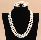 Gorgeous Mother Gift Double Strand 9-10mm Natural White Pearl Wedding Jewelry Set With Black Agate Clasp (Necklace & Bracelet) under $ 100
