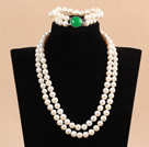 Gorgeous Mother Gift Double Strand 9-10mm Natural White Pearl Wedding Jewelry Set With Green Agate Clasp (Necklace & Bracelet) under $ 40