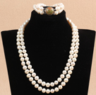 Gorgeous Mother Gift Double Strand 9-10mm Natural White Pearl Wedding Jewelry Set With Green Piebald Stone Clasp (Necklace & Bracelet) under $ 40