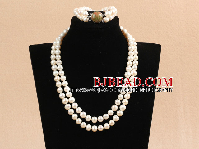Gorgeous Mother Gift Double Strand 9-10mm Natural White Pearl Wedding Jewelry Set With Green Piebald Stone Clasp (Necklace & Bracelet)