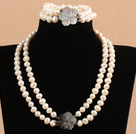 Gorgeous Mother Gift Double Strand 8-9mm Natural White Pearl Wedding Jewelry Set With Shell Flower Clasp (Necklace & Bracelet)