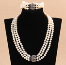 Gorgeous Mother Gift Three Strand 7-8mm Natural White Pearl Wedding Jewelry Set (Necklace & Bracelet)