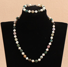 Graceful 7-8mm Natural White Freshwater Pearl Indian Agate Party Jewelry Set (Necklace & Bracelet) under $ 12