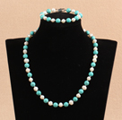 Graceful 7-8mm Natural White Freshwater Pearl Turquoise Party Jewelry Set (Necklace & Bracelet)