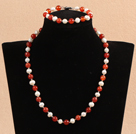 Graceful 7-8mm Natural White Freshwater Pearl Red Agate Party Jewelry Set (Necklace & Bracelet) under $ 12
