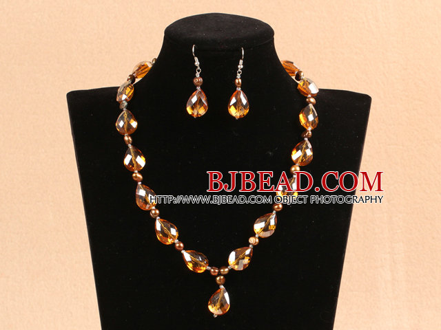 Shining Drop Shape Yellowish-Brown Crystal Pearl Party Jewelry Set With Rhinestone Clasp (Necklace & Earrings)