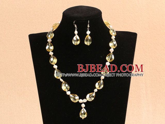 Shining Drop Shape Pale Yellow Crystal Natural White Pearl Party Jewelry Set With Rhinestone Clasp (Necklace & Earrings)
