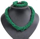 Chunky Style Christmas Green Design 28 Strands Mini Glass Beads Jewelry Set (Necklace & Bracelet)