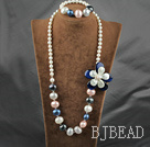 A Grade Freshwater Pearl and Shell Beads and Cats Eye Set ( Necklace and Matched Bracelet )