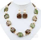 White Freshwater Pearl and Green Opal Set ( Necklace and Matched Earrings )