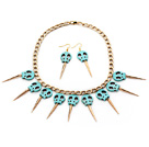 Punk Style Skull Shape Green Turquoise Set with Golden Color Metal Chain