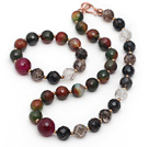 Assorted Faceted Malachite and Agate and Black Tiger Eye and Clear Crystal Set ( Necklace and Matched Bracelet )