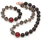 Brown Série Quartz e Carnelian Set Smoky Assorted (colar e pulseira Matched)