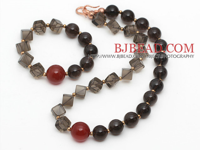 Brown Series Assorted Smoky Quartz and Carnelian Set ( Necklace and Matched Bracelet )