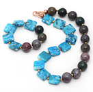 Assorted Square Shape Blue Agate and Round Indian Agate Set ( Necklace and Matched Bracelet )