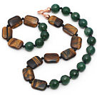 Assorted Round Faceted Green Agate and Tiger Eye and Black Agate Set ( Necklace and Matched Bracelet)