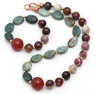 Assorted Opal and Dragon Blood Stone and Carnelian Set ( Necklace and Matched Bracelet )