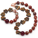 Red Series Assorted Red Jasper and Tiger Eye and Hot Pink Agate Set ( Necklace and Matched Bracelet )