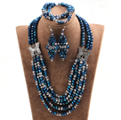 Glamorous 5 Layers Dark Blue Gray Crystal Beads African Wedding Jewelry Set With Butterfly Accessory (Necklace With Mathced Bracelet And Earrings)