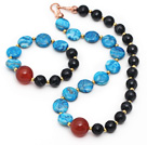 Assorted Blue Agate and Black Stripe Agate Set ( Necklace and Matched Bracelet )