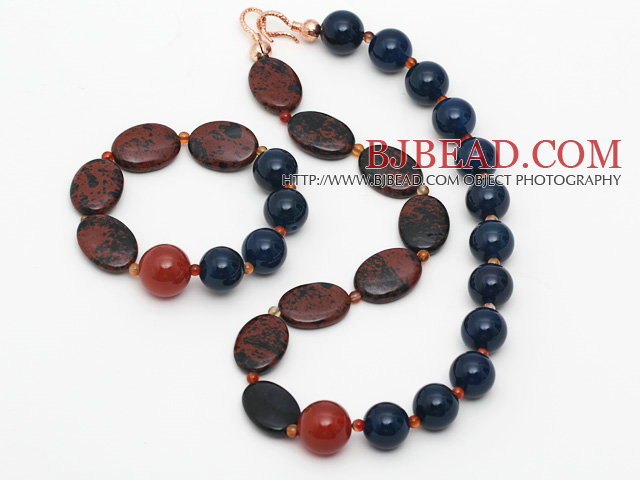 Assorted Blue Agate and Golden Color Swan Stone Set ( Necklace and Matached Bracelet )