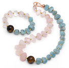 Incidence Angle Rose Quartz and Tiger Eye and Aquamarine Set ( Necklace and Matched Bracelet )