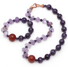 Purple Series Incidence Angle Amethyst and Carnelian Set ( Necklace and Matched Bracelet )