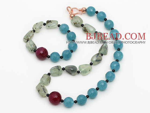 Assorted Prehnite and Sponge Kyanite Set ( Necklace and Matched Bracelet )
