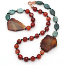 Green Dragon Blood Stone and Faceted Carnelian and Agate Slice Set ( Necklace and Matched Bracelet )