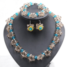 Fancy Style Blue Tan Colored Crystal Flower Jewelry Set (Necklace With Mathced Bracelet And Earrings)
