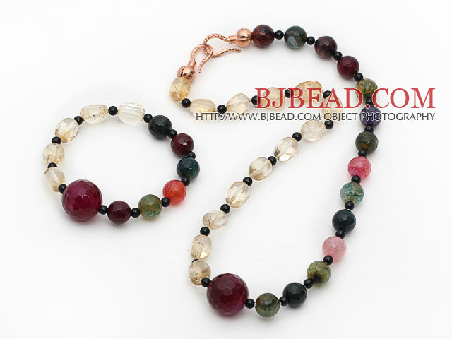 Assorted Citrine and Black Agate and Pink Agate Set ( Necklace and Matched Bracelet )